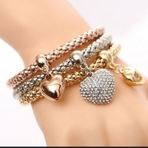 New 3 Heart Charm Triple Layer Stretch Bracelets